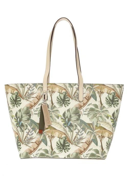 Ekru Tropikal Desenli Kadın Çanta