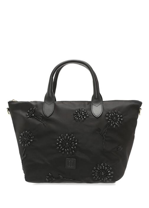 Sara Siyah Çiçek Boncuk İşlemeli Kadın Çanta