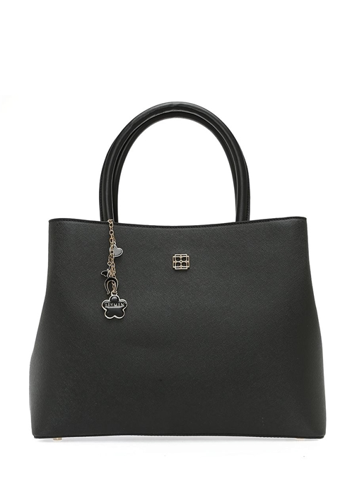 Siyah Logolu Aksesuar Detaylı Kadın Çanta