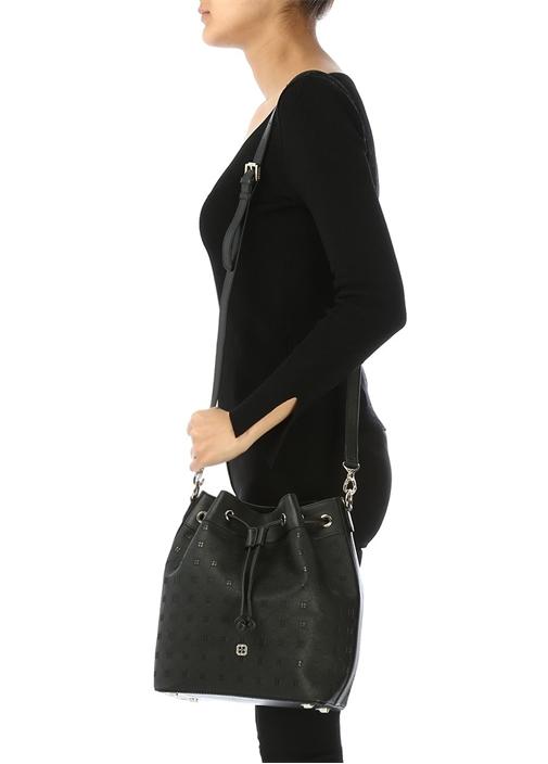 17a109b64e50b Beymen - Fenix Siyah Logolu Kadın Büzgülü Omuz Çantası - Renk Siyah