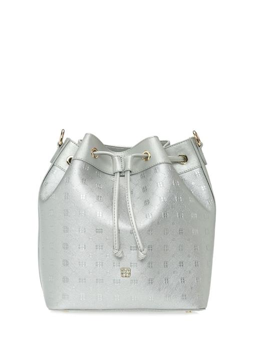 1b264c16b0809 Beymen - Fenix Silver Logolu Kadın Büzgülü Omuz Çantası - Renk Gümüş