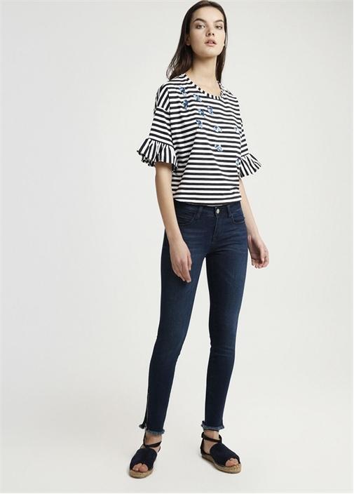 Püskül Detaylı Düşük Bel Skinny Jean Pantolon
