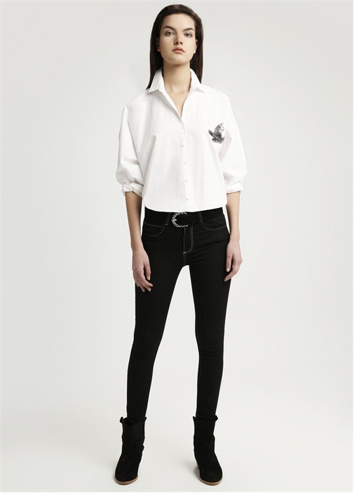 Siyah Beyaz Dikişli Yüksek Bel Jean Pantolon