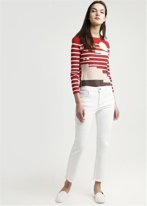 Beyaz Nakışlı Yüksek Bel Jean Pantolon