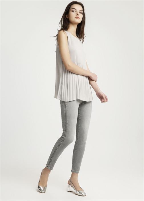 Gri Yanı Zincir Detaylı Slim Fit Jean Pantolon
