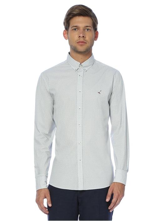Slim Fit Beyaz Damla Desenli Gömlek